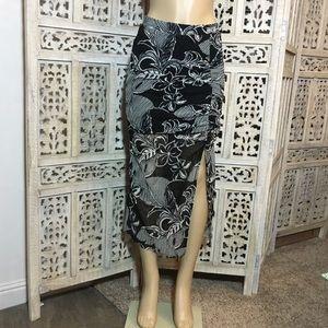 Zara Black and White Floral Mesh Skirt